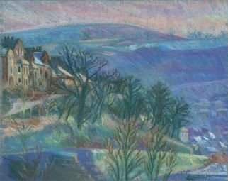 Barbara Shepard; Birchcliffe In Blue And Purple, 1992, Original Printmaking Giclee, 22 x 17.5 cm. Artwork description: 241  This is one of a series of pastel landscape pictures of winter landscape views from of the artists window. It is a view over the town of Hebden Bridge.  ...