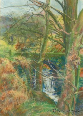 Barbara Shepard; Nutclough Woods, 1992, Original Printmaking Giclee, 27 x 37 cm. Artwork description: 241  In the early 1990's the artist created a number of colourful pastel landscape pictures of her immediate locality. These are straightforward studies from nature of a much loved landscape.     ...