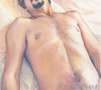 Barbara Shepard; Reclining Nude, 2010, Original Watercolor, 19.5 x 22 cm. Artwork description: 241      This is one of a series of studies of the male nude concerned with re- configuring the male in art. Whereas the subject of the female nude has been the subject of feminist deconstruction, stereotypical images of the male in art have gone relatively unchallenged. The tradition ...