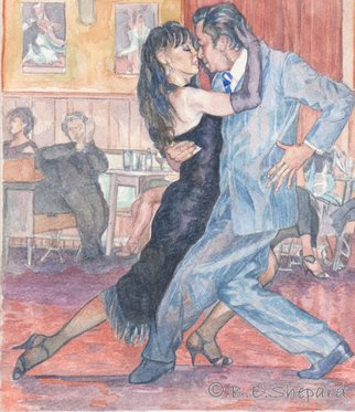 Barbara Shepard; Tango  Andres And Genoveva 2, 2011, Original Printmaking Giclee, 20.5 x 23.5 cm. Artwork description: 241  Tango dancers - part of a series of photographs and paintings of tango dances. This is the second water colour painting of these dancers worked from a photograph taken by the artist.  ...