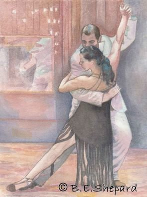 Barbara Shepard; Tango Dancers  Eleanora A..., 2009, Original Printmaking Giclee, 20 x 27 cm. Artwork description: 241     One of a series of paintig of Tango dancers of dancers visiting the UK from Argentina. These are worked from photographs The artist took whilst the dancers were performing to the public.    ...
