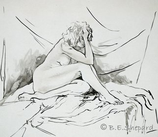 Barbara Shepard; Woman Seated, 1987, Original Painting Ink, 43 x 38 cm. Artwork description: 241     Ink brush drawing and wash of model.     ...