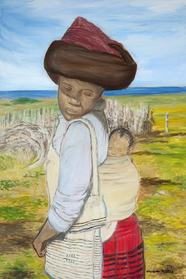 Vaughn Tucker; African Mother And Child, 2011, Original Painting Oil, 48 x 60 inches. Artwork description: 241          Figure , lying  down, oil paint, detail art, fine art, 20 x 20, size  , land scape        ...