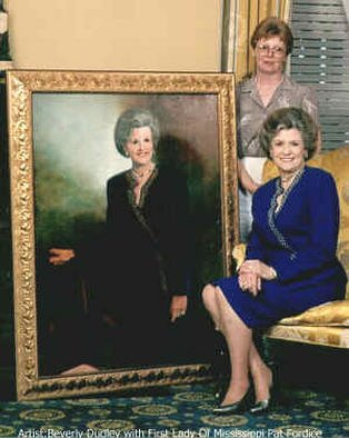 Beverly Dudley; First Lady Of Mississippi, 1993, Original Painting Oil, 36 x 48 inches. Artwork description: 241 Artist Beverly Dudley with First Lady of Mississippi. i>> ? This Oil Portrait of Pat Fordice hung outside her office in the Governors Mansion in Mississippiwhen her husband was governor....