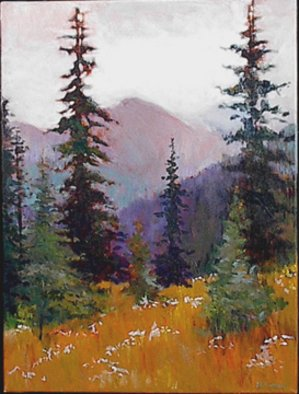 Beverly Furman; RainierForest,Rt, 2008, Original Painting Acrylic, 20 x 26 inches. Artwork description: 241  This painting works by itself or as a diptych with Rainier Forest, Right. They are the same size.Frame is