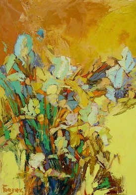 Oleg Bezyuk; The Garden Of Blooming Irises, 2017, Original Painting Oil, 50 x 70 cm. Artwork description: 241 In the garden of  blooming irises A talk with the old friend What a reward to a traveler, oil on canvas, irises, Oleh Bezyuk...