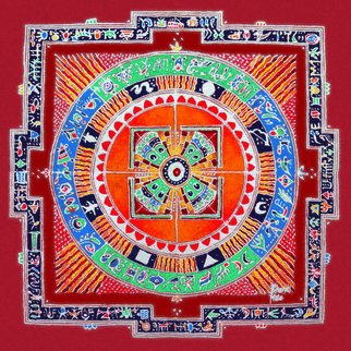 Bharati Mate; Surya Mandala, 2010, Original Fresco, 42 x 42 feet. Artwork description: 241   Canvas frescos of Rangavali, it represents one of the popular Indian folk art out of 600 other folk arts of the country. It is unique transformation of a floor canvas in to a stint one. It is durable , first time such experiment get introduced. given it for ...