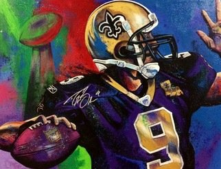 Bill Lopa; Drew Breeze, 2017, Original Printmaking Giclee, 40 x 30 inches. Artwork description: 241 Drew Breeze New Orleans Saints ...