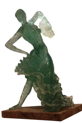 Tzipi Biran; A Flamenco Dancer, 2015, Original Sculpture Glass, 40 x 50 inches. Artwork description: 241  A flamencodancer woman made of broken glass and resin.Differents transperity and colores, depend on the glass. ...