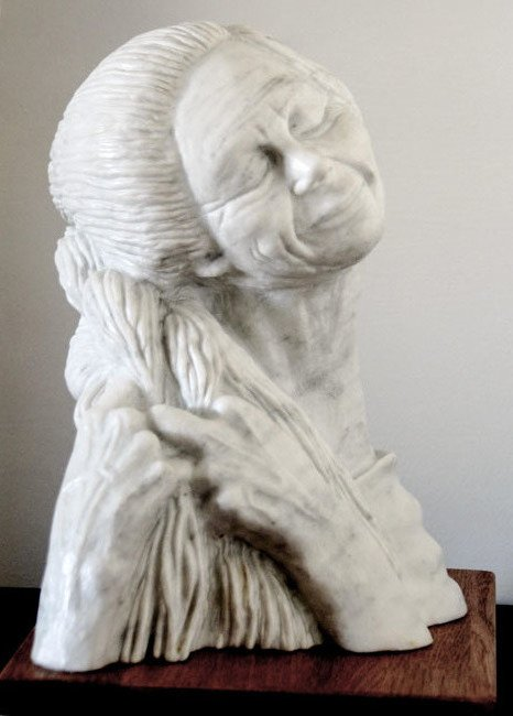 Tzipi Biran; A Woman Braids, 2017, Original Sculpture Marble, 25 x 39 inches. Artwork description: 241 Carrara stone.woman, braid, hair, face, figurative, old woman...