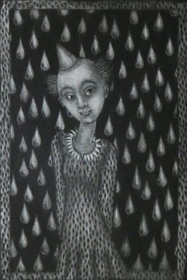 Bert Menco; Drops, 2015, Original Printmaking Intaglio, 9 x 12 inches. Artwork description: 241  A mezzotint, a lady surrounded by drops. Made during a residency at