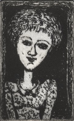 Bert Menco; Maaike T, 2014, Original Printmaking Etching, 2.5 x 3 inches. Artwork description: 241   A fantasy portrait     ...