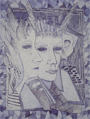 Bert Menco; Monkey Donkey People, 1987, Original Printmaking Other, 9 x 12 inches. Artwork description: 241  A fantasy image of