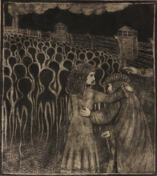 Bert Menco; Shylock 1943 Acta Fabula Est, 2015, Original Printmaking Intaglio, 17 x 20 inches. Artwork description: 241  A mezzotint depicting the likely fate of Shylock and his daughter Jessica had they lived in mainland Europe in the early forties of the last century. The print was largely prepared during a residency at