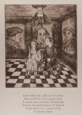 Bert Menco; The Visit, 1989, Original Printmaking Etching, 12 x 19 inches. Artwork description: 241  A visitor from beyond, a room walled with some famous people ...