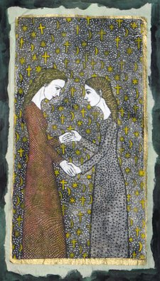 Bert Menco; The Visitation, 2014, Original Printmaking Etching, 7 x 13 inches. Artwork description: 241  A variation on the meeting between Maria and Elizabeth, merging all major Western religions. This copy of the etching/ aquatint ( copper plate) is hand- colored on four layers of paper, all different, and therefore one of a kind, hence A. P. ( the regular edition is 25, also ...