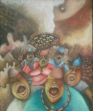 Tobi Bolaji; Great Fear, 2015, Original Painting Oil, 21.9 x 29 inches.
