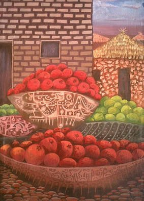 Tobi Bolaji; Tomatoes, 2013, Original Painting Oil, 21.9 x 29.3 inches. Artwork description: 241               A nice house with some beautiful environment          ...