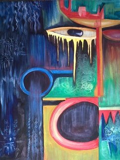 Tobi Bolaji; Lamentation, 2013, Original Painting Oil, 20.8 x 25 inches. Artwork description: 241 Frustration in life triggers craziness in some peopleWhich causes so many people in the street to talk and shout alone on the street. ...