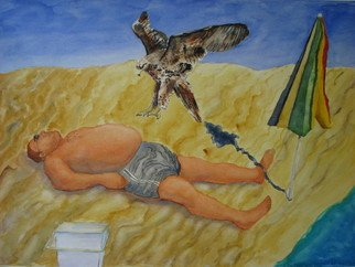 Bob Dreier; Day At The Beach, 2009, Original Watercolor, 24 x 18 inches.
