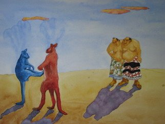 Bob Dreier; Sumoroo, 2009, Original Watercolor, 24 x 18 inches. Artwork description: 241  first resort or last resort ...