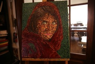 Bogdan Lecca; Sharbat Gula, 2020, Original Painting Oil, 50 x 60 cm. Artwork description: 241 An original painting, tribute to Steve McCurry . . . and to the remarcable green eyes of this afghan girl  oil on canvas, 50x60 cm ...