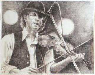Bonie Bolen; John Hartford, Large Print, 2016, Original Drawing Pencil, 14 x 17 inches. Artwork description: 241 Original drawing from a photographers view. Original not for sale but photo shows prints that I have that are available. Thank you....