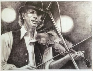 Bonie Bolen; John Hartford, Small Print, 2016, Original Drawing Pencil, 8.5 x 11 inches. Artwork description: 241 Original drawing from a photographers view. Original not for sale but photo showsprints I have that are available. Thank you....