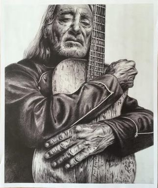Bonie Bolen; Willie Nelson And Trigger..., 2016, Original Drawing Pencil, 8 x 11 inches. Artwork description: 241 Original drawing from a photographers view. Original not for sale but this photo shows prints that are available. Thank you....