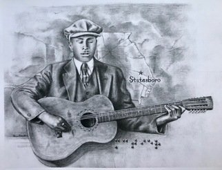 Bonie Bolen; Blind Willie Mctell, 2018, Original Drawing Pencil, 11 x 8.5 inches. Artwork description: 241 This is a print of the Georgia blues musician Blind Willie McTell.The braille says  McTier  his original last name....