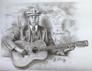 Bonie Bolen; Blind Willie Mctell, 2018, Original Drawing Pencil, 17 x 13 inches. Artwork description: 241 This is a print of a portrait I did in pencil of the Georgia blues musician Blind Willie McTell. The braille in it reads McTier, his original last name. ...