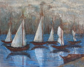Boz Vakhshori; Reflection, 2009, Original Painting Oil, 40 x 50 inches. Artwork description: 241  Reflection of boats in the sea.   ...
