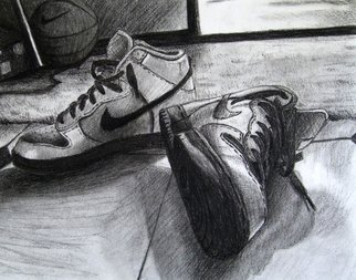 An-ti Lin; A Pair Of Shoes, 2007, Original Drawing Charcoal, 12 x 9 inches.