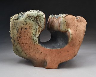 Robert Pulley; Conic Oculus, 2019, Original Sculpture Clay, 22 x 17 inches. Artwork description: 241 The term oculus refers to the conical piercing of this simple form that frames a view.  This could be installed outdoors on a patio or in a garden.  A hole in the bottom can anchor it to a stone or steel plate for stability.  Hardware available on ...