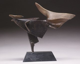 Robert Pulley; Dancer And Bird, 2008, Original Sculpture Bronze, 16 x 14 inches. Artwork description: 241  Bronze abstract on black marble base.  Black and brown patina.  ...