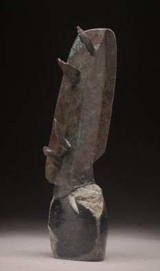 Robert Pulley; Icarus Wing, 2015, Original Sculpture Bronze, 17 x 4 inches. Artwork description: 241     Sculpture, Bronze, Patinated, Basalt, partially formed and polished, combined, black, grey, green. ...
