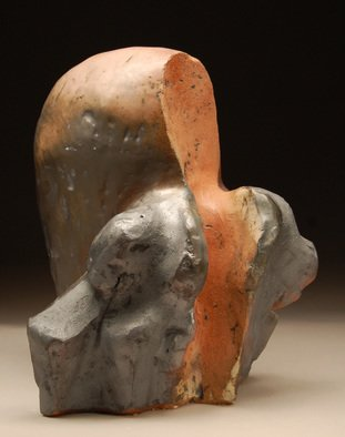 Robert Pulley; Inside Out, 2012, Original Sculpture Ceramic, 11 x 14 inches. Artwork description: 241    Abstract hand built stoneware clay sculpture with rose, black, brown and burnt orange glazes over copper stain. ...