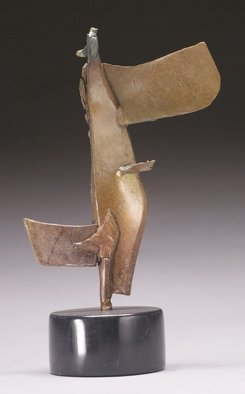 Robert Pulley; Little Grace, 2012, Original Sculpture Bronze, 7 x 12 inches. Artwork description: 241 Abstract Bronze sculpture on a black marble base.  Table or pedestal scale.  Modern.  black and brown patina.  ...