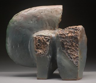 Robert Pulley; Turn Around, 2012, Original Sculpture Ceramic, 18 x 16 inches. Artwork description: 241  Hand built stoneware clay sculpture.  Organic form.Rose, blue grey, tan, grey green glaze over copper stain. ...