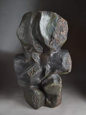 Robert Pulley; Composition In Black, 2019, Original Sculpture Clay, 26 x 39 inches. Artwork description: 241 This robust human scale abstract sculpture possesses mystery and strength.  It looks great in a garden setting as well as in doors. ...