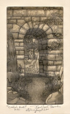 Bradford D. Branch; Stone Arch, Central Park NYC, 1993, Original Printmaking Etching, 5.1 x 8.2 inches.
