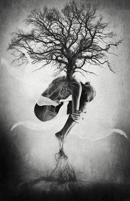 Erik Brede; Tree Of Life, 2013, Original Photography Black and White, 100 x 150 cm. Artwork description: 241 Surreal and abstract nude photo manipulation.  Mother Nature connecting the tree of life to the earth.100x150cm104x154cm Printed on HahnemA1/4hle FineArt Baryta, Glossy, 325gsm archival, museum grade paper with Epson Inkjet 11880 and 9 colour K3 pigment inks, that ensure even the smallest details are visible ...