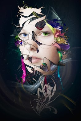 Erik Brede; Abstract Portrait No 10, 2018, Original Photography Color, 60 x 90 cm. Artwork description: 241 Manipulated and abstract view of female portrait. 60x90cm Printed on HahnemA1/4hle FineArt Baryta, Glossy, 325gsm archival, museum grade paper with Epson Inkjet 11880 and 9 color K3 pigment inks, that ensure even the smallest details are visible and the colors appear freshly printed, even after 100 ...