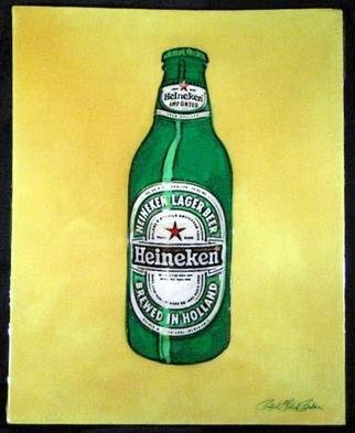 Ralph Michael Brekan; Heineken, 2005, Original Collage, 16 x 20 inches. Artwork description: 241 16x 20 plastique colle on stretched canvas. Created with a unique technique of joined plastics.  Get your own monumental art piece and be a part of modern history. Portrait and commission work done with superb detail. ...