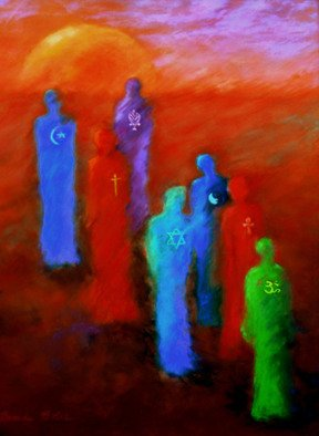 Brenda Boles; Many Paths To God, 2009, Original Pastel, 30 x 40 inches. Artwork description: 241   7 Major religions walking from darkness to the light - - Hindu, Egyptian, Tao, Judiasm, Christianity, Buddhist, Islam.  ...