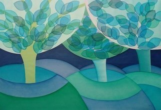 Daniela Szuromi; Big Blue Forest, 2019, Original Painting Acrylic, 120 x 80 cm. Artwork description: 241 A big painting of a blue forest with transparent leaves. This artwork will be shipped rolled in a tube. ...