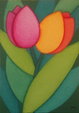 Daniela Szuromi; Tulips Ii, 2017, Original Painting Acrylic, 13 x 18 cm. Artwork description: 241 Two beautiful tulips painted in a semi abstract style.  This has been painted on canvas board13 x 18 x 0. 4 cm . ...