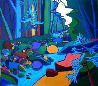 Debra Bretton Robinson; Follow The River, 2012, Original Painting Acrylic, 40 x 40 inches. Artwork description: 241  woods, water, rocks, river, blue, green, forest, acrylic painting, new hampshire, white mountains, fluidity, mountains, landscape,      ...