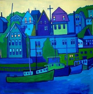 Debra Bretton Robinson; Gloucester Harbor, 2011, Original Painting Acrylic, 24 x 24 inches. Artwork description: 241   city, cityscape, buildings, red, street lamps, light, hill, cars, evening, dusk, trees  ...
