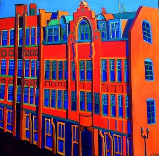 Debra Bretton Robinson; Queen Anne, 2017, Original Painting Acrylic, 42 x 42 inches. Artwork description: 241 Architecture, painting, building, windows, details, Lowell, MA, Massachusetts, red, orange, blue...
